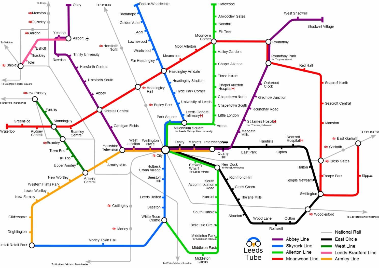 Harta metrou Leeds