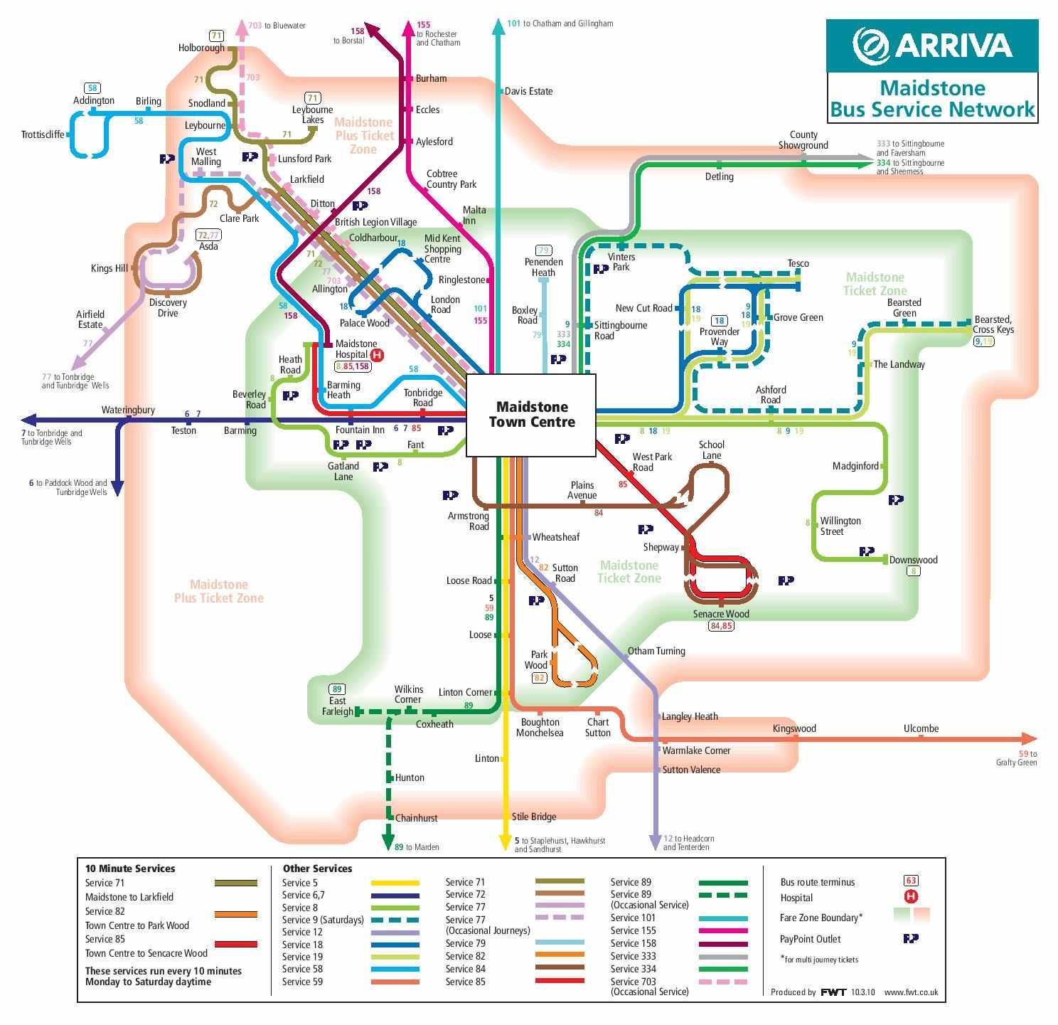 Harta transport Maidstone