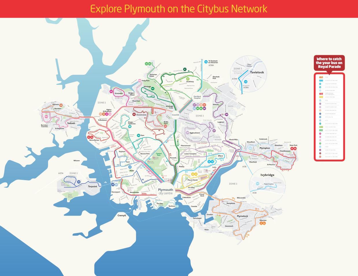 Harta transport Plymouth (GB)