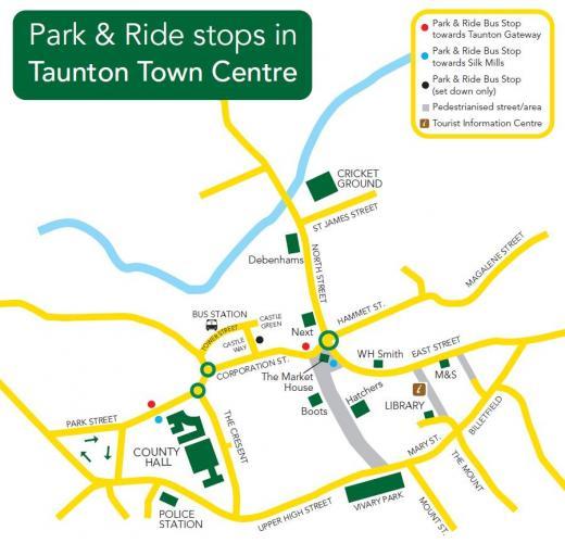 Harta transport Taunton