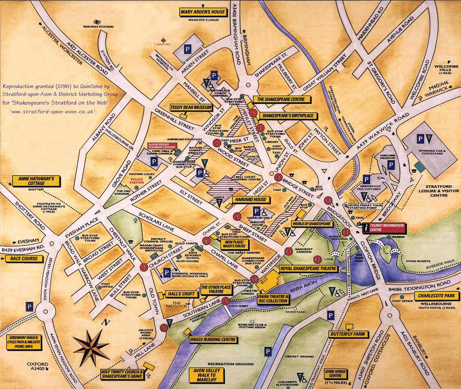 Harta Stratford-upon-Avon