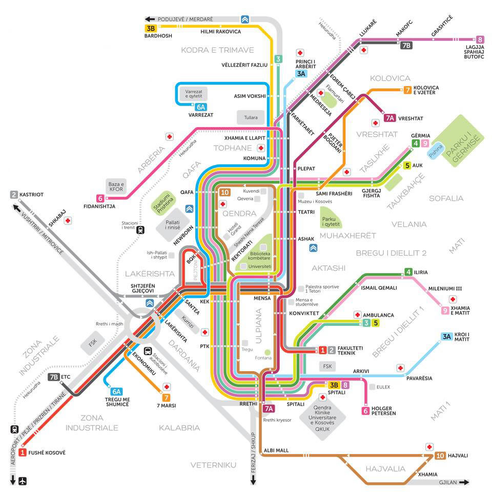 Harta transport Pristina