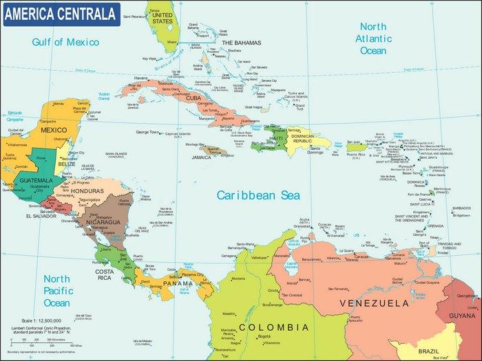 Harta Politica a Americii Centrale
