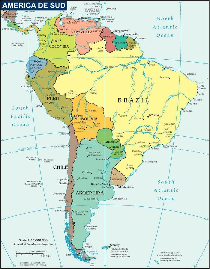Harta Politica a Americii de Sud